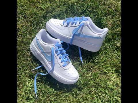 Baby blue swoosh & laces - MikeAndNikes™- We Just Did It - Cream of The Crop®