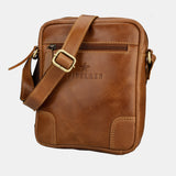 Finelaer Men Crossover Brown Leather Crossbody - MikeAndNikes™- We Just Did It - Cream of The Crop®