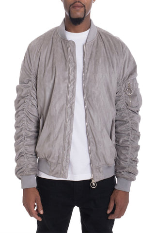 FAUX SUEDE BOMBER- SMOKE - MikeAndNikes™- We Just Did It - Cream of The Crop®