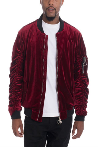 VELOUR BOMBER- BURGUNDY - MikeAndNikes™- We Just Did It - Cream of The Crop®