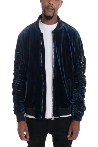 VELOUR BOMBER- NAVY - MikeAndNikes™- We Just Did It - Cream of The Crop®