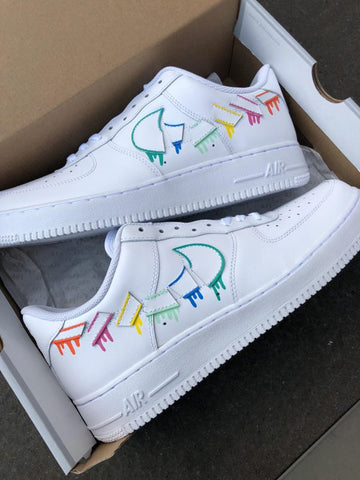 AF1 destroyed swooshes DRIP - MikeAndNikes™- We Just Did It - Cream of The Crop®