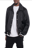 LUXE SATIN BOMBER- BLACK - MikeAndNikes™- We Just Did It - Cream of The Crop®