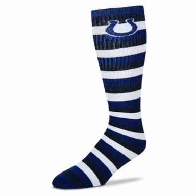 Indianapolis Colts Striped Knee High Socks - MikeAndNikes™- We Just Did It - Cream of The Crop®