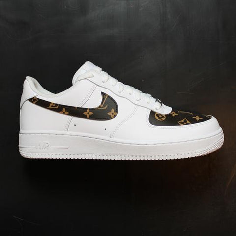 Custom Nike Air Force 1 Drip louis V brown - MikeAndNikes™- We Just Did It - Cream of The Crop®