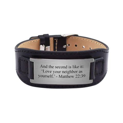 Mens Genuine Leather Scripture Bracelet - Matthew - MikeAndNikes™- We Just Did It - Cream of The Crop®