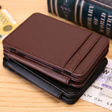 Man Mini Magic Bifold Leather Wallet Card Holder - MikeAndNikes™- We Just Did It - Cream of The Crop®
