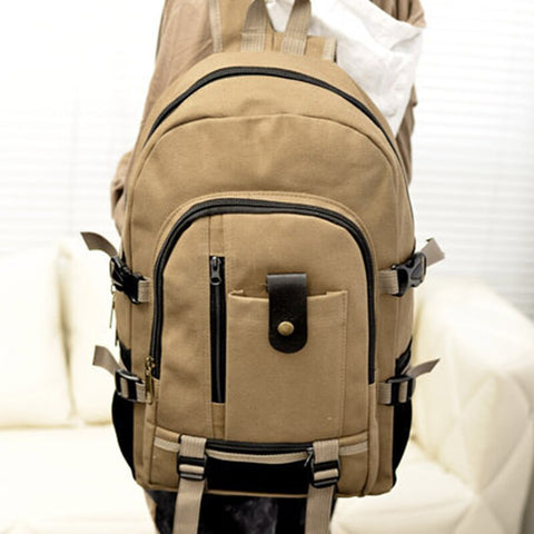 Men's Canvas Backpack Leisure Travel Vintage - MikeAndNikes™- We Just Did It - Cream of The Crop®