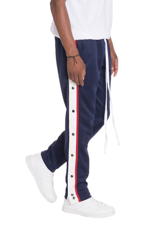 SNAP BUTTON TRACK PANTS- NAVY - MikeAndNikes™- We Just Did It - Cream of The Crop®
