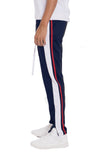 TRICOT STRIPED TRACK PANTS- NAVY - MikeAndNikes™- We Just Did It - Cream of The Crop®