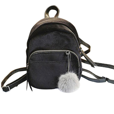 Mini Fur Ball Backpack women Fashion Shoulder - MikeAndNikes™- We Just Did It - Cream of The Crop®