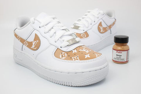 Nike Air Force 1's - LV Louis v (Beige) - MikeAndNikes™- We Just Did It - Cream of The Crop®