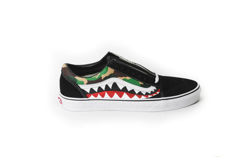 "Custom ""Bape Shark"" Vans - MikeAndNikes™- We Just Did It - Cream of The Crop®"