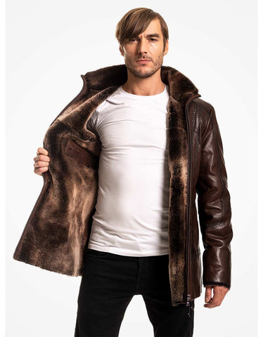 Brown Leather Coat For Men With Fur Lining - MikeAndNikes™- We Just Did It - Cream of The Crop®