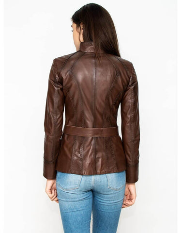 Brown Leather Biker Jacket For Women - MikeAndNikes™- We Just Did It - Cream of The Crop®