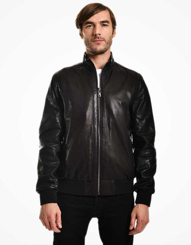 Black Leather Bomber Jacket For Men - MikeAndNikes™- We Just Did It - Cream of The Crop®