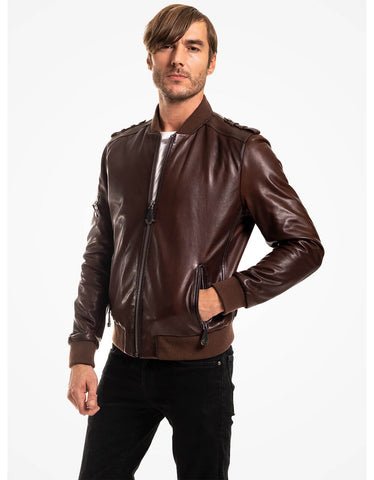 Brown Leather Bomber Jacket For Men - MikeAndNikes™- We Just Did It - Cream of The Crop®