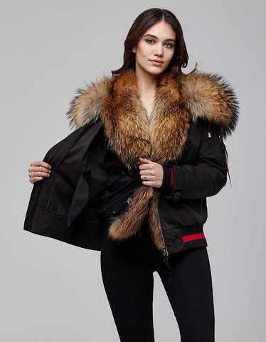 Black Fur Trimmed Bombers Jacket For Women - MikeAndNikes™- We Just Did It - Cream of The Crop®