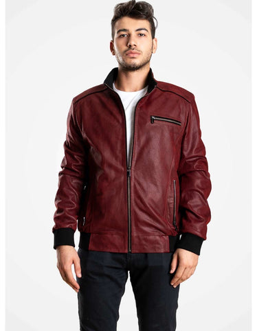Bordeaux Leather Bomber Jacket For Men - MikeAndNikes™- We Just Did It - Cream of The Crop®