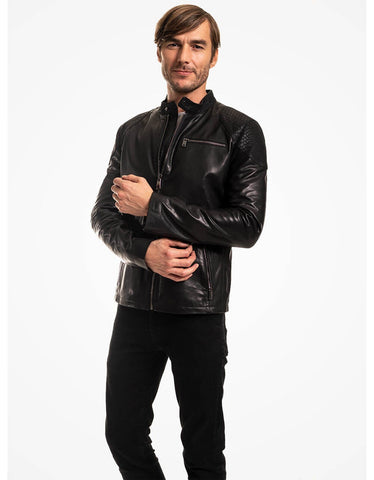 Black Leather Biker Jacket For Men - MikeAndNikes™- We Just Did It - Cream of The Crop®