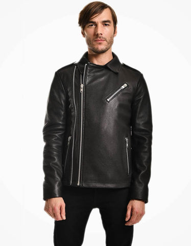 Black Biker Jumbo Leather Jacket For Men - MikeAndNikes™- We Just Did It - Cream of The Crop®