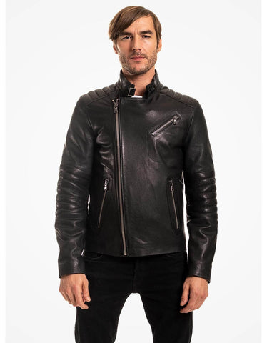 Black Biker Leather Jacket For Men - MikeAndNikes™- We Just Did It - Cream of The Crop®