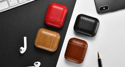 Genuine Real Leather Airpods Case Ships from USA - MikeAndNikes™- We Just Did It - Cream of The Crop®