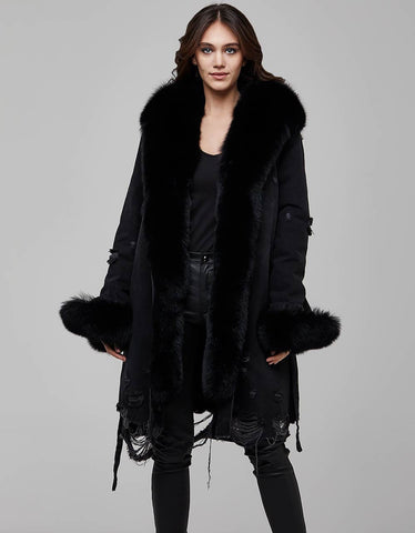 Black Fur Trimmed Canvas Parka For Women - MikeAndNikes™- We Just Did It - Cream of The Crop®