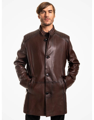 Brown Leather Coat For Men - MikeAndNikes™- We Just Did It - Cream of The Crop®