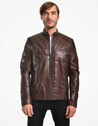 Brown Leather Biker Jacket For Men - MikeAndNikes™- We Just Did It - Cream of The Crop®
