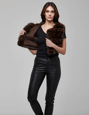 Sable Colour Fox Fur Gilet Vest For Women - MikeAndNikes™- We Just Did It - Cream of The Crop®