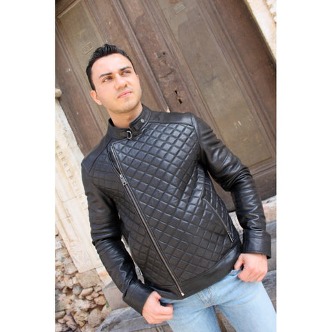 Black Sport Leather Jacket For Man - MikeAndNikes™- We Just Did It - Cream of The Crop®