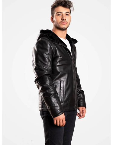 Black Hooded Leather Biker Jacket For Men - MikeAndNikes™- We Just Did It - Cream of The Crop®