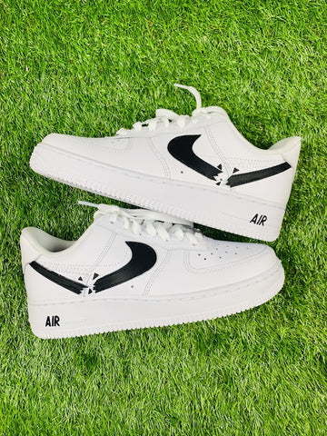 Black Destroyed Swoosh Air Force 1 - MikeAndNikes™- We Just Did It - Cream of The Crop®