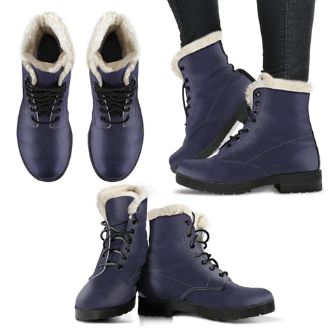 Eclipse - Faux Fur Leather Boots - MikeAndNikes™- We Just Did It - Cream of The Crop®