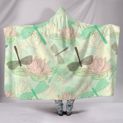Seamless Pattern Lotus Dragonfly Hooded Blanket - MikeAndNikes™- We Just Did It - Cream of The Crop®