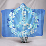 Peace Hippie Blue Hooded Blanket - MikeAndNikes™- We Just Did It - Cream of The Crop®