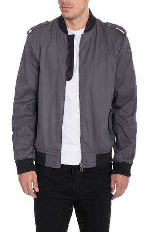 CASUAL BOMBER- GREY - MikeAndNikes™- We Just Did It - Cream of The Crop®