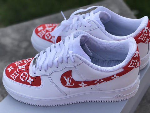 "Air Force 1 ""Supreme L V"" (with front and back tab) Customs red - MikeAndNikes™- We Just Did It - Cream of The Crop®"