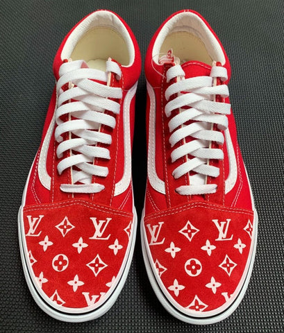 Custom Vans Old Skool Handpainted red - MikeAndNikes™- We Just Did It - Cream of The Crop®