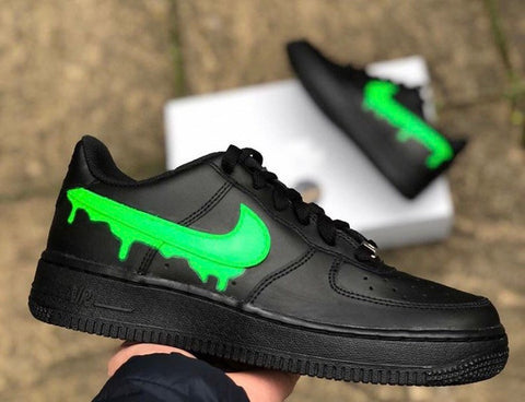 DRIP Custom Air Force 1 black green slime - MikeAndNikes™- We Just Did It - Cream of The Crop®