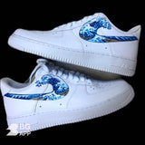 Custom Nike Air Force 1 great wave of Kanagawa Hokusai - MikeAndNikes™- We Just Did It - Cream of The Crop®