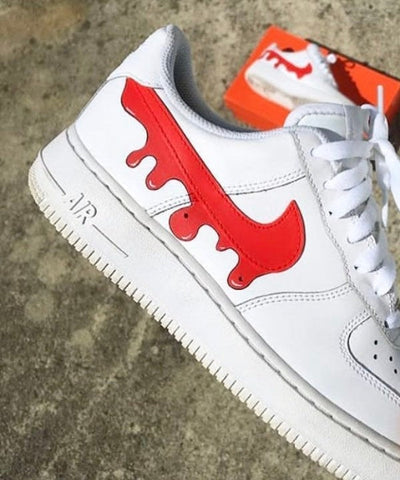 DRIP Custom Air Force 1 red big splash - MikeAndNikes™- We Just Did It - Cream of The Crop®