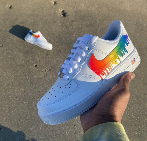 Rainbow Drip Air Force Ones - MikeAndNikes™- We Just Did It - Cream of The Crop®