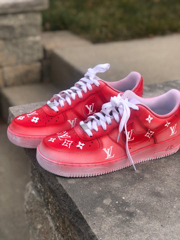 "Air Force 1 ""Supreme L V"" fade (with front and back tab) Customs - MikeAndNikes™- We Just Did It - Cream of The Crop®"