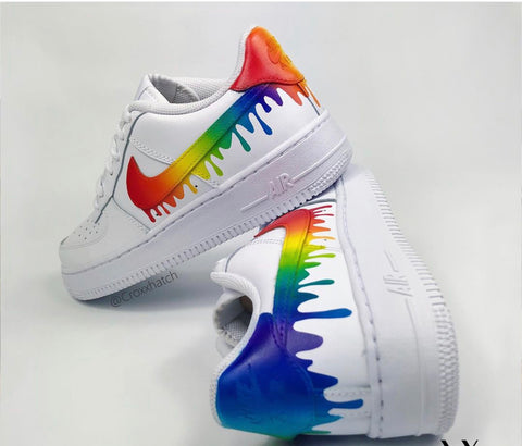 "Rainbow Custom Air Force 1 Drip"" Customs - MikeAndNikes™- We Just Did It - Cream of The Crop®"