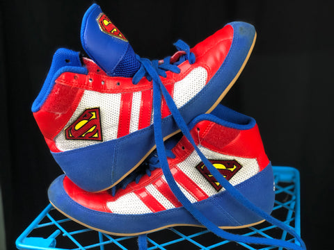 Custom Superman Adidas wrestling shoes sz 5