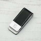 Black Leather Money Clip - MikeAndNikes™- We Just Did It - Cream of The Crop®