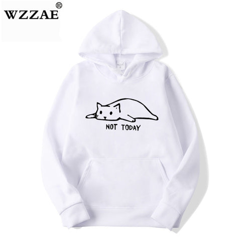 Kawaii Cat Hoodies Men Not Today Funny Graphic Sweatshirt Men/Women Harajuku Fashion Sweat Unisex Long Sleeve Sudadera Mujer - MikeAndNikes™- We Just Did It - Cream of The Crop®