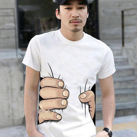 Hand Print Round Neck Casual Short Sleeve White T-shirt